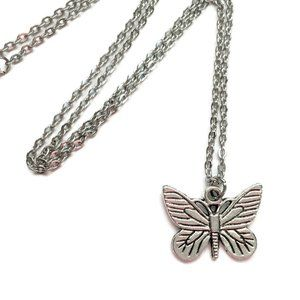 🦋 Butterfly Charm Necklace Tibetan Silver 4for$20